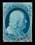 Stamps, (8A) 1851, 1¢ blue, type IIIa...
