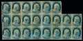 Stamps, (9) 1852, 1¢ blue, type IV...