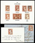 Stamps, (10, 11) 1851-57, 3¢ color chart...