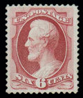 Stamps, (137) 1870, 6¢ carmine, grilled...