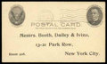 """Stamps, (UX17) Postal Card, 1902, 1¢ black on buff, the """"full-face McKinley""""..."""