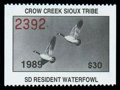 Stamps, Crow Creek Sioux (S.D.) waterfowl, 1989 $30 Canada Geese...