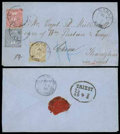 Stamps, 1868 (20 Oct.) envelope to Shanghai via Triest (24.10)...