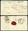 Stamps, 1871 (Feb.) envelope from Tientsin to Rossleben (21.3) via Kiachta (9.2) and Moscow (15.16.3)...