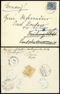 Stamps, 1895 (1 Sept.) envelope from Peking to Freiburg (18.10) redirected to Berlin (19.10)...