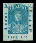 Stamps, (8) 1857, 5¢ blue, thin white paper...