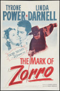 "Movie Posters:Swashbuckler, The Mark of Zorro (20th Century Fox, R-1946). One Sheet (27"" X 41""). Swashbuckler.. ..."