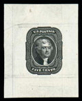 Stamps, (12TC1) 1856, 5¢ black, large die trial color proof on india...