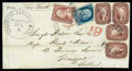 Stamps, 1856 (Jul. 6) Saint John, New Brunswick to Aberdeen Scotland, via Boston and New York...