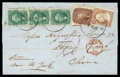 Stamps, 1858 (Feb. 2) Boston Ms. to Hong Kong, China...