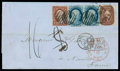 Stamps, 1857 (Feb. 10) New Orleans La. to Nantes France...