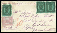 1875 (21 Jan.) envelope to Manchester (26.1) via St. Petersburg (22.1)