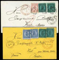 Stamps, 1869 and 1870, two envelopes from Helsinki to Kiel...
