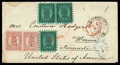 Stamps, 1871 (17 Mar.) envelope from Wiborg to Winona, Minn., via St. Petersburg (18.3) and New York (3.4)...