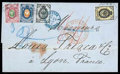 Stamps, 1869 (7/19 Nov.) folded cover from Moscow to Lyon (25.11) via St. Petersburg (9/21.11)...