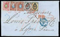 Stamps, 1869 (27 Nov./9 Dec.) folded letter from Moscow to Lyon (15.12)...