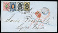 Stamps, 1870 (5/14 May) folded cover from Moscow to Lyon (22.5) via St. Petersburg (6/18.5)...