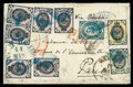 Stamps, 1874 (14/26 Mar.) small onion skin envelope from Constantinople to Paris (2.4) via Odessa (17/29.3)...