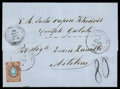 "Stamps, 1871 (6 Mar.) folded letter from Odessa to Mytilene endorsed ""V.R. Posta vapore Khedivil Constple Galata""..."