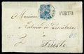 Stamps, 1867 (6 Oct.) folded cover to Trieste...