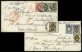 Stamps, (1874-1875) two covers to the same addresse in Adelaide, S. Australia...