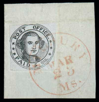 (7X1) Millbury, Mass., 1846, 5¢ black on bluish