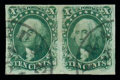 Stamps, (13) 1855, 10¢ green, type I...