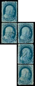 Stamps, (20) 1857, 1¢ blue, type II...
