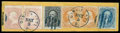 Stamps, (72, 71) 1861-62, 90¢ blue and pair of 30¢ orange...