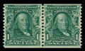 Stamps, (318) 1908, 1¢ blue green coil...