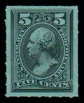 Stamps, (RB16c) Proprietary, 1875, 5¢ black, rouletted 6...