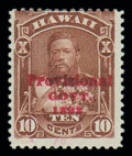 Stamps, (61B) Hawaii 1893, 10¢ red brown, red overprint...