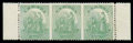 Stamps, Nevis 1878, Lithographed 1s pale green imperforate between horizontal strip of three...