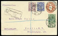 Stamps, KGV 1½d postal stationery envelope used 1922 (30.11) and registered from Kalkfeld to Berlin, Germany (27.12)...