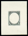 Stamps, (2-E3a) 1847, 1847, 10¢ engraved frame essay in black on India...