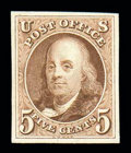 Stamps, (1P3) 1847, 5¢ red brown, plate proof on India...