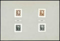 Stamps, (3P2-4P2) 1847 (1875 Reproductions), 5¢-10¢ complete, small die proofs...