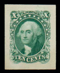 """Stamps, (43P2a) 1857-60 (1875 Reprints), 10¢ blue green, """"Panama-Pacific"""" small die proof..."""