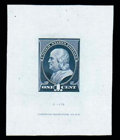 Stamps, (212TC1) 1881, 1¢ Franklin, large die trial color proof on India...