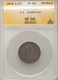 1806 1/2 C Small 6, No Stems--Damaged--ANACS. VF30 Details. C-1. NGC Census: (6/381). PCGS Population (31/350). Mintage:...