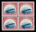 Stamps, (C3 var.) Airmail, 1918, 24¢ carmine rose and blue grounded plane variety...