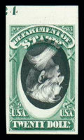 Stamps, (O71P4a) Officials, State Dept., 1873, $20 green & black, plate proof on card...