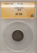 Bust Dimes: , 1835 10C VF35 ANACS. JR-6. NGC Census: (9/396). PCGS Population (26/369). Mintage: 1,410,000. Numismedia Wsl. Price for pr...