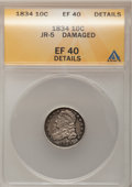 Bust Dimes: , 1834 10C Small 4--Damaged--ANACS. XF40 Details. JR-5. NGC Census:(14/235). PCGS Population (6/166). Mintage: 635,000. Num...