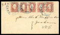 Stamps, (8) 1863, 2¢ brown red...