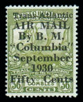 Stamps, (C5) Airmail, 1930, 50¢ on 36¢ Columbia Flight...