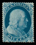 Stamps, (19) 1857, 1¢ blue, type Ia...