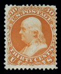 Stamps, (61) 1861, 30¢ red orange, First Design...
