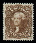 Stamps, (105) 1875 Re-issue of 1861-67 issue, 5¢ brown...