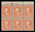 Stamps, (362) 1909, 6¢ red orange, bluish paper...